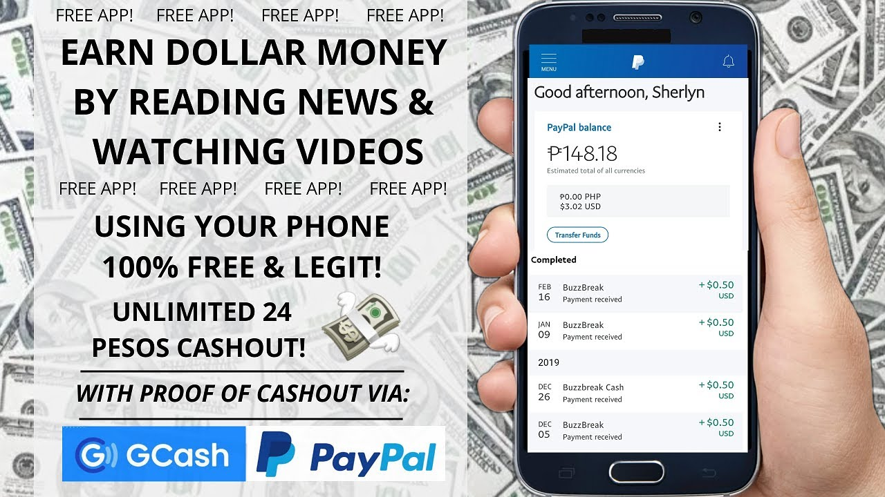 Earn dollar by scrolling news & watching videos for free • Free mobile app 2020   With Sherlyn