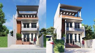 House Design Plan 3 Story Home 6x12m Full Plan