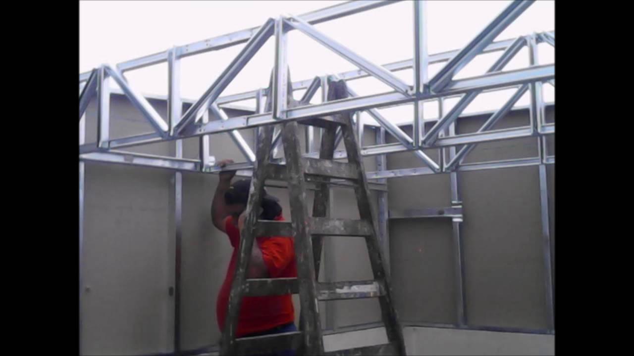 Jmm drywall peru habitacion en azotea youtube for Techos en drywall para habitaciones
