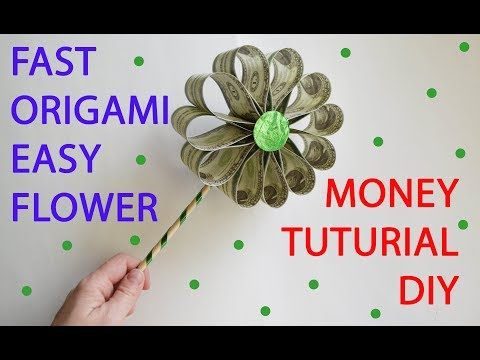 Easy Money Flower Fast Tutorial Origami Dollar DIY