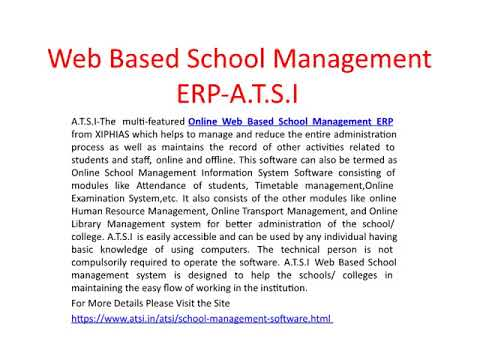 Web Based School Management ERP - A T S I