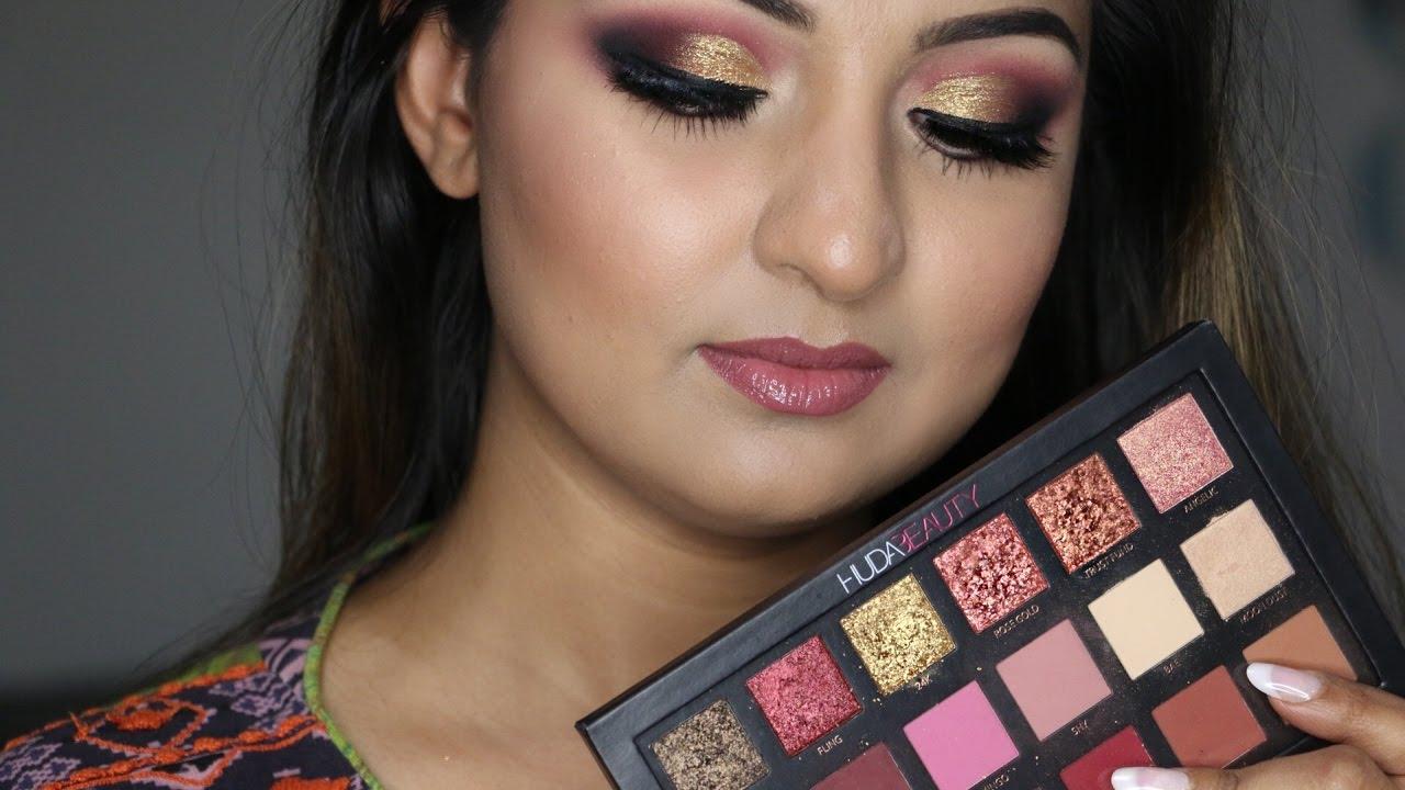 Huda Beauty Rose Gold Palette Tutorial Youtube