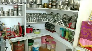 #( small kitchen tour) my small and sweet kitchen organising tips simple Telugu housewife😘😘