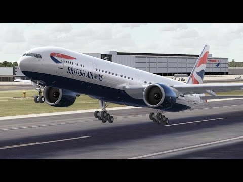 FSX HD PMDG 777-300 British Airways 27 London to Hong Kong Full Flight Passenger Wing View