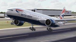 FSX HD PMDG 777-300 British Airways 27 London to Hong Kong Full Flight Passenger Wing View