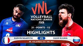 France vs Russia | VNL 2021 | Highlights | Earvin Ngapeth vs Egor Kliuka