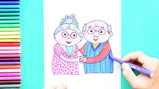 Grandparents Day - How to draw and color Grandparents