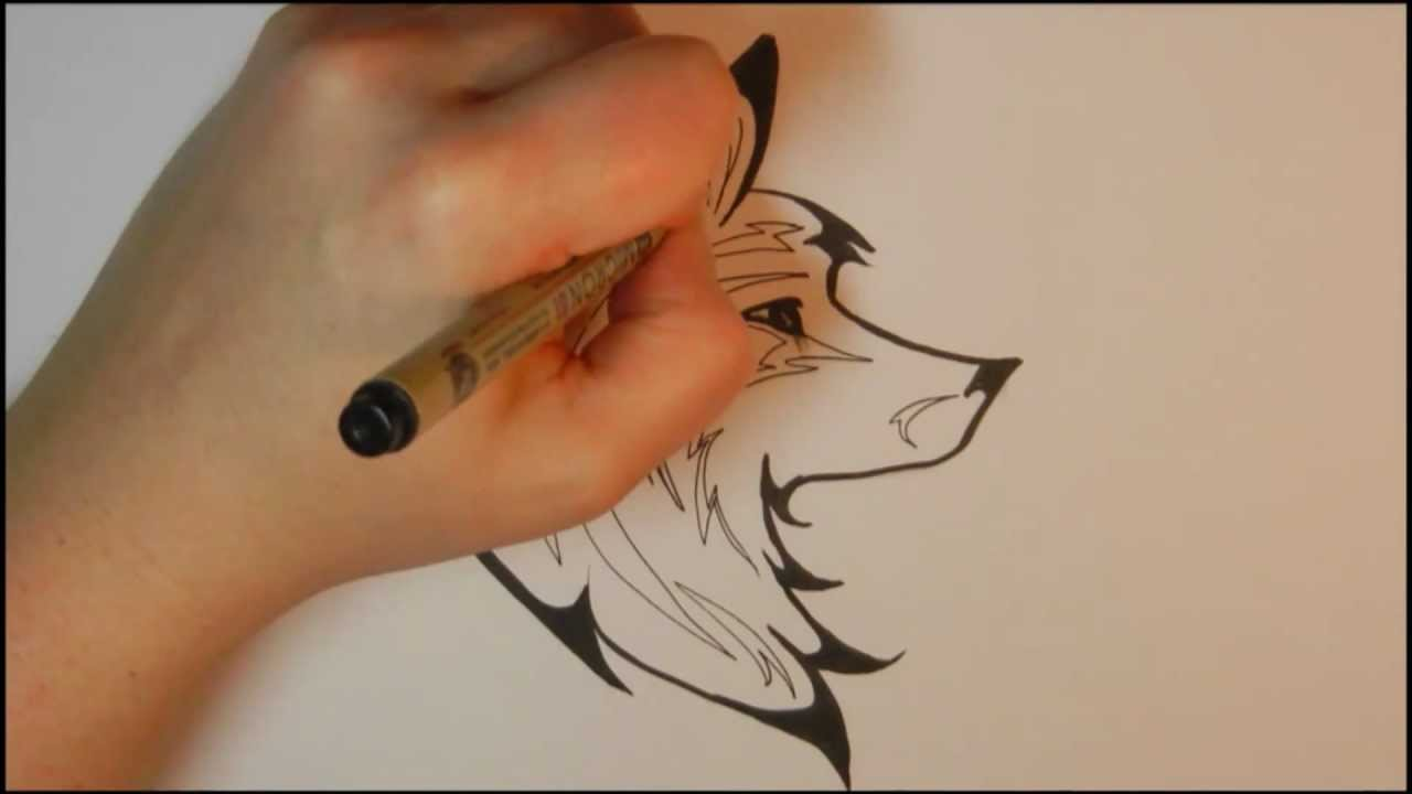 How To Draw A Tribal Wolf Youtube