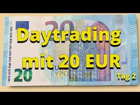 Daytrading für Anfänger mit 20 EUR Startkapital - Tag 2