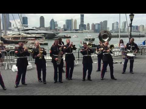 CHICAGO POLICE DEPARTMENT BAND, CONSISTING OF ALL U.S. MARINES, PLAYING AT CEREMONIAL EVENT IN NYC.