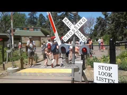 Denver Colorado zoo railroad crossing with bell