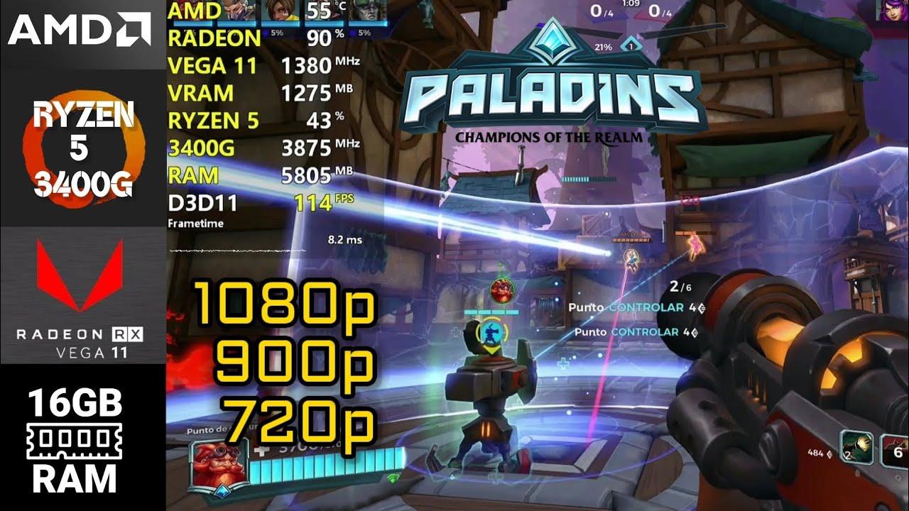 Paladins | Ryzen 5 3400G | Vega 11 | 16GB RAM (Dual Channel - 3200MHz)