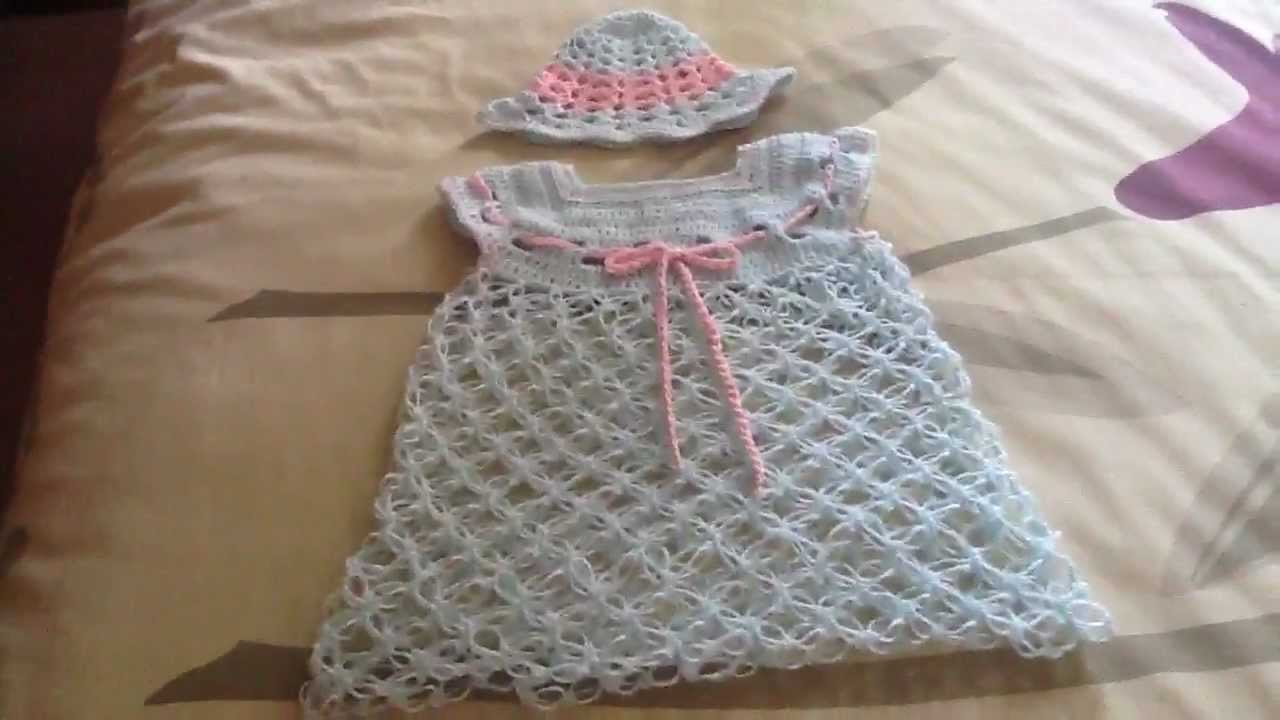 Vestidito para bebe en crochet youtube for Gancho de ropa en ingles