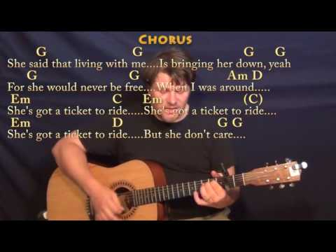 Ticket To Ride (The Beatles) Strum Guitar Cover Lesson With Chords/Lyrics - Capo 2nd