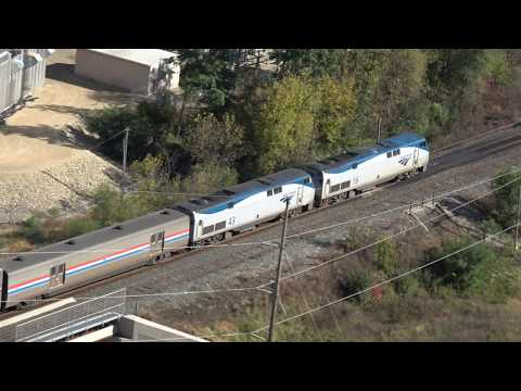 2017-10-17 Amtrak 8 passes Barn Bluff in Red Wing MN