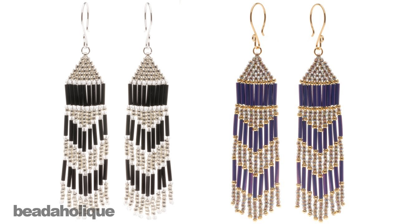 How To Make Brick Sch And Fringe Beaded Earrings