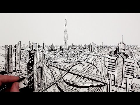 How to Draw Dubai City in Perspective