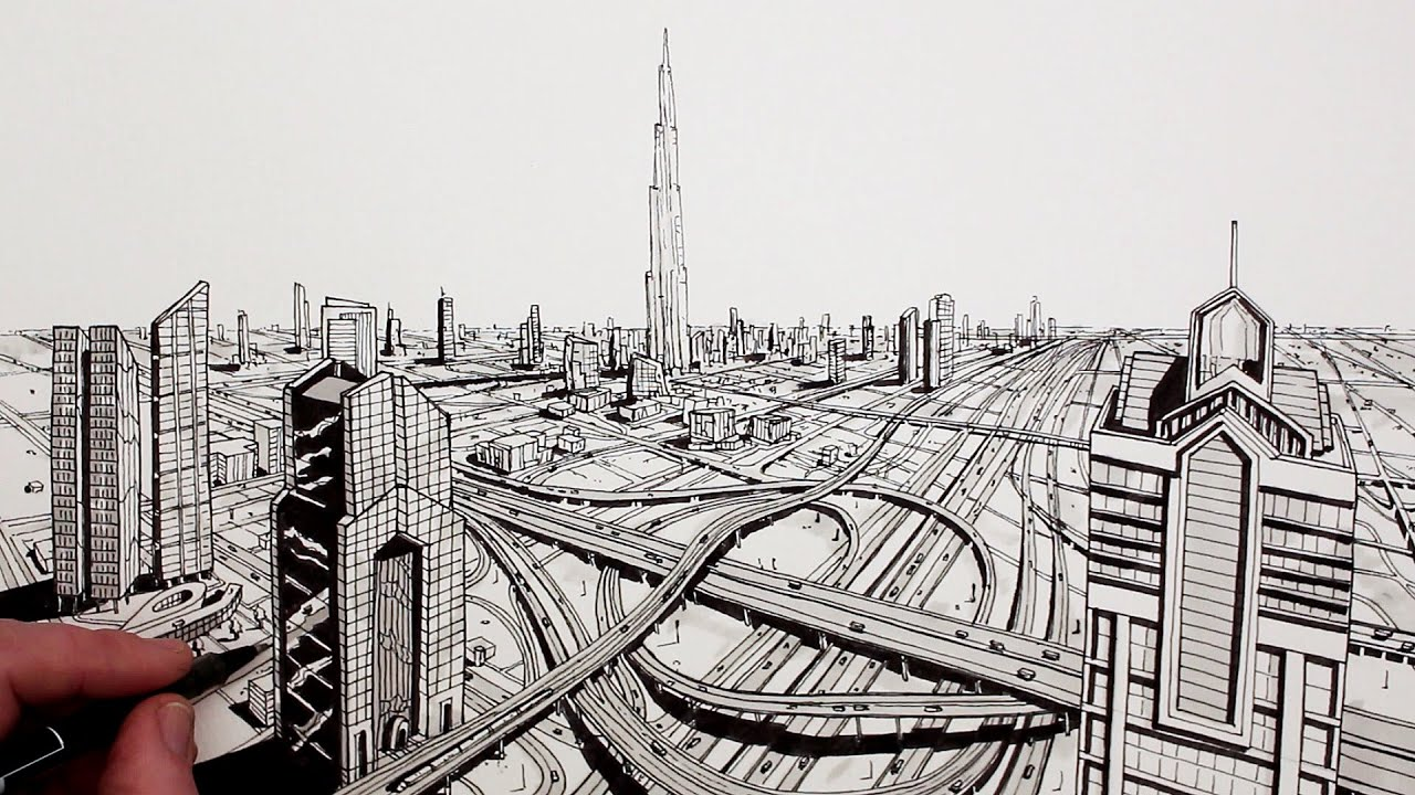 Line Art City : How to draw dubai city in perspective youtube