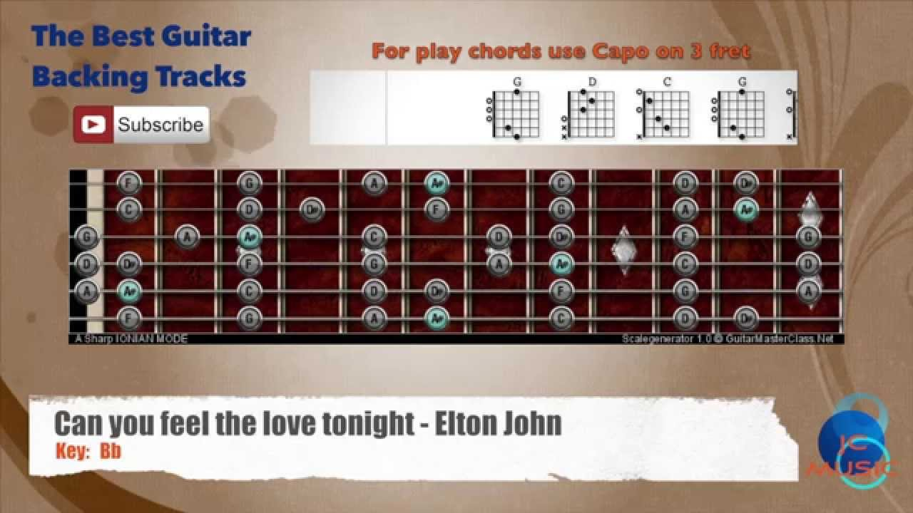 Can You Feel The Love Tonight Elton John Guitar Backing Track With