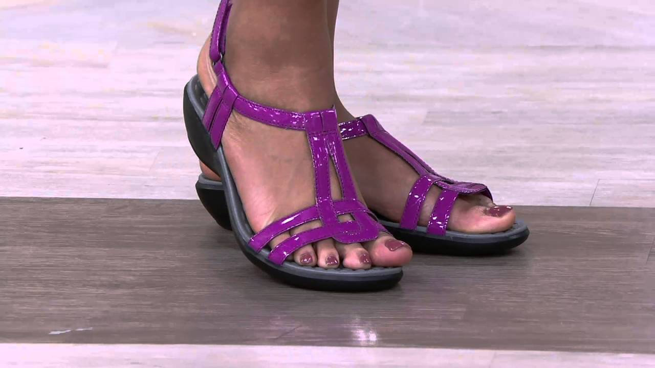ce66a0bf74a Clarks Patent T-Strap Sandals - Sonar Aster on QVC - YouTube