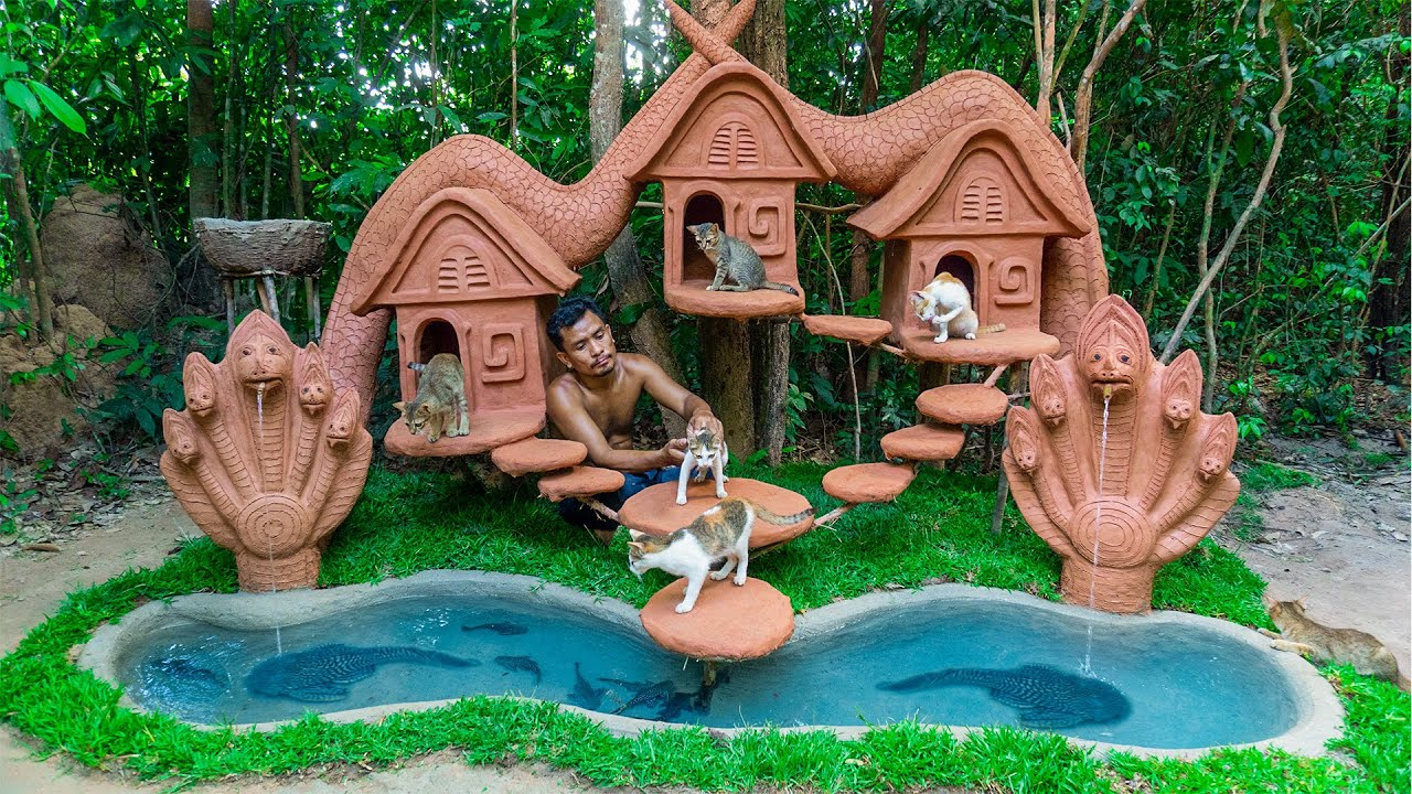 Collect Abandoned Cat Building A Treehouse Cat And NAGA Fish Pond For  Pleco Fish