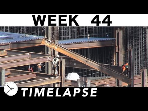 One-week construction time-lapse with 31 closeups: Week 44: Structural steel; crane; rebar; and more