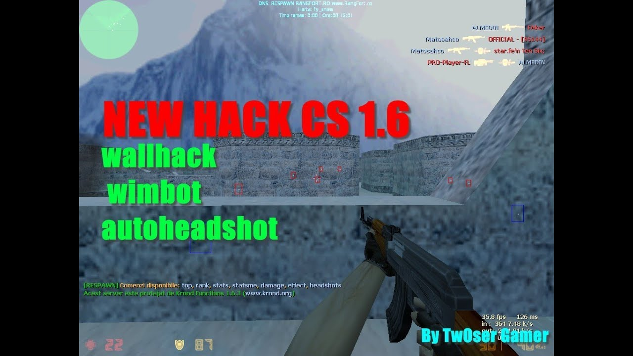 New hack cs 1. 6 2018(wallhack, aimbot, autoheadshot) by twoser.