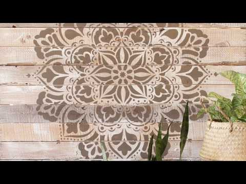 How to Paint a Wood Pallet with Large Mandala Stencils - DIY Reclaimed Wood Wall Art Pattern Decor