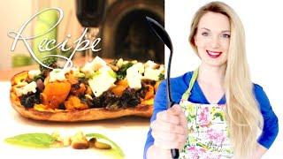Вегетарианский рецепт запечённой тыквы с сыром фета и кедровыми орешками