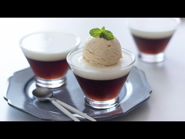 コーヒーゼリーとバニラアイスの作り方 Coffee jelly with Vanilla Icecream HidaMari Cooking