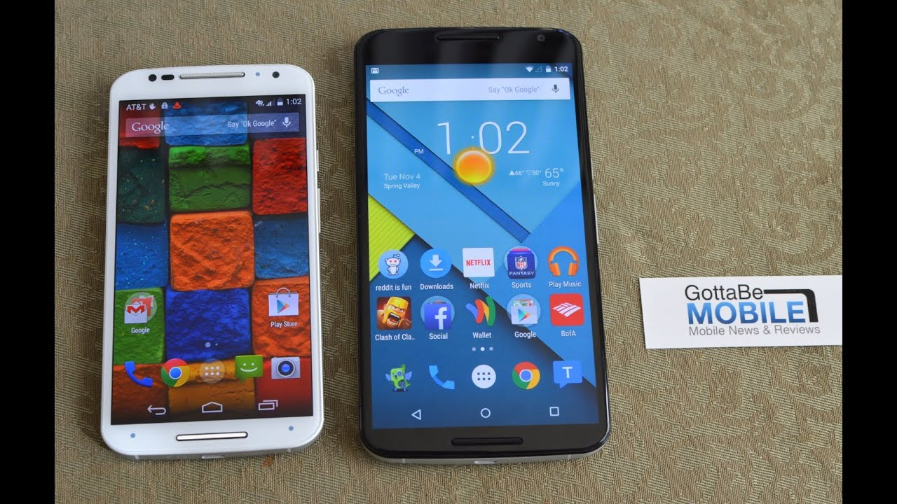 Nexus 6 vs Moto X 2014: Size Comparison
