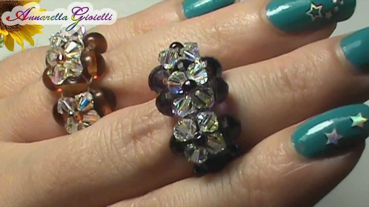 Favoloso Tutorial anello swarovski - per principianti - (DIY swarovski ring  ZP24