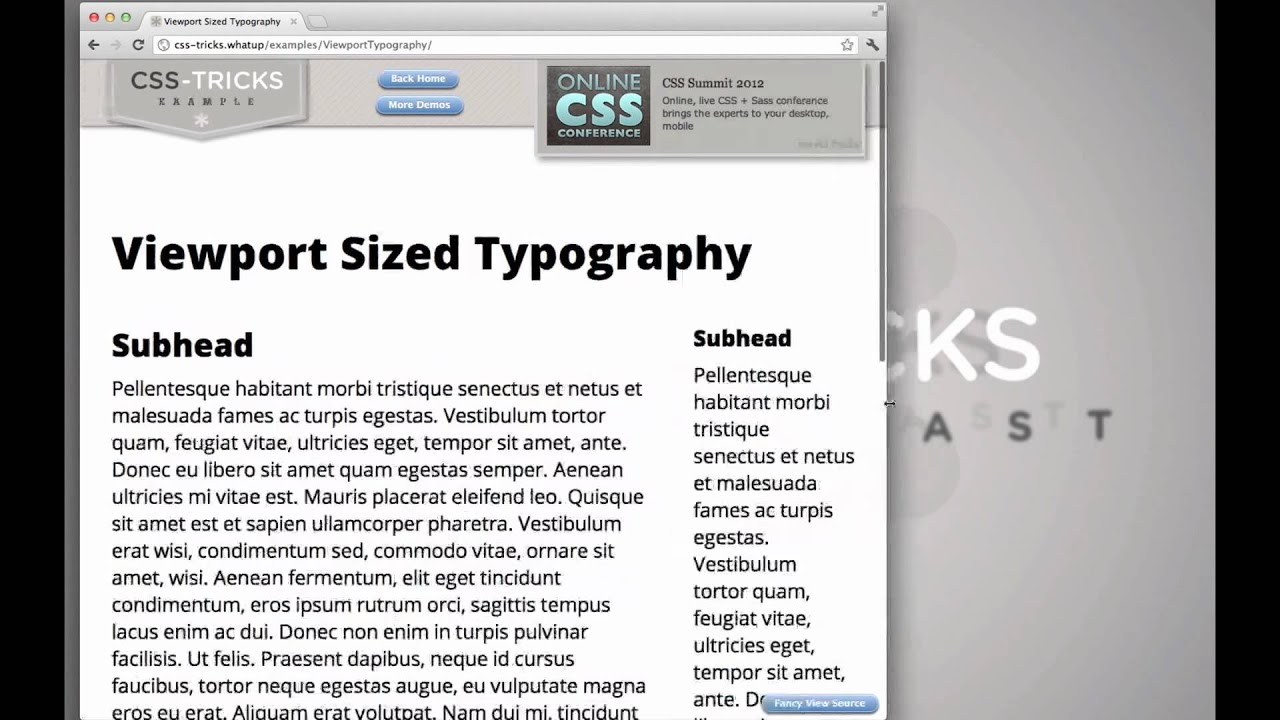 Viewport Sized Typography | CSS-Tricks