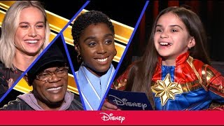 Cast of Captain Marvel Chats with Little Girl About the Film | Disney