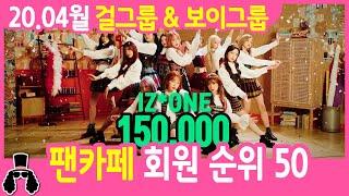 걸그룹 팬카페  & 보이그룹 팬카페 회원 순위 50 - 2020년 4월 | 와빠TV