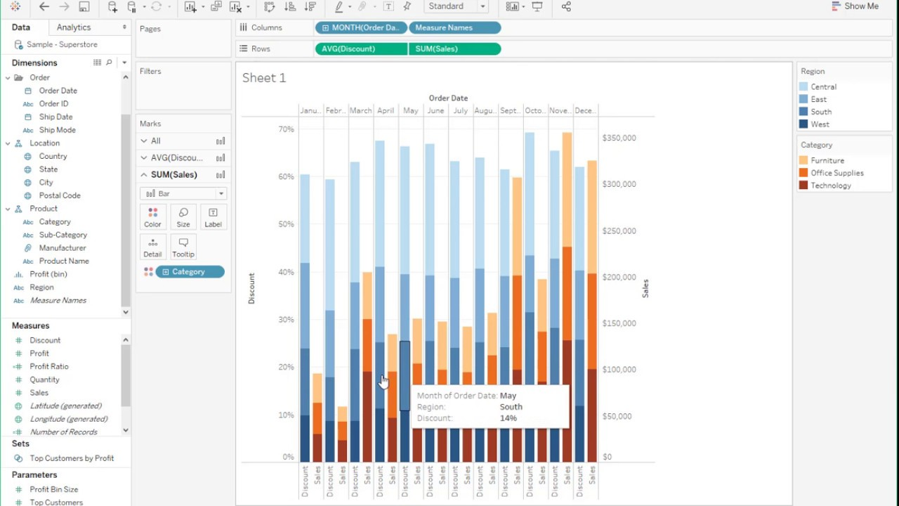 How to create a Dual Axis & Stacked Grouped Bar Charts in Tableau