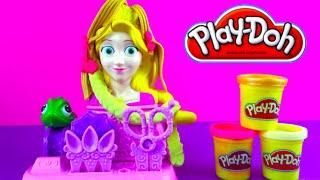 Play Doh Princess Rapunzel Disney Princess hair design with Sarkle PalyDoh Salon di Bellezza