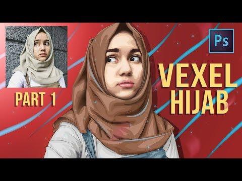 [ Photoshop tutorial ] Vector Vexel Hijab Potrait - Part 1 LINE ART