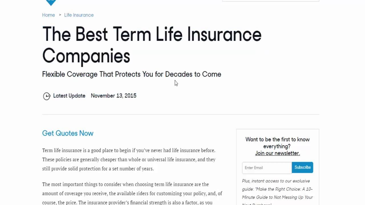 Term Life Insurance Instant Quotes What Is The Best Term Life Insurance Companies  Raipurnews