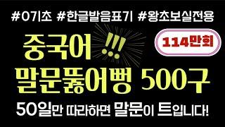 중국어 말문뚫어뻥 500구 | 基礎韓國語 | Korean-Chinese daily conversation | 1시간풀버전 | 50일 완성 | 그냥 따라만 하면 OK!