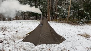 $100 Hot Tent Oฑ The Trail. Multi Day Winter Storm. Solo adventure.