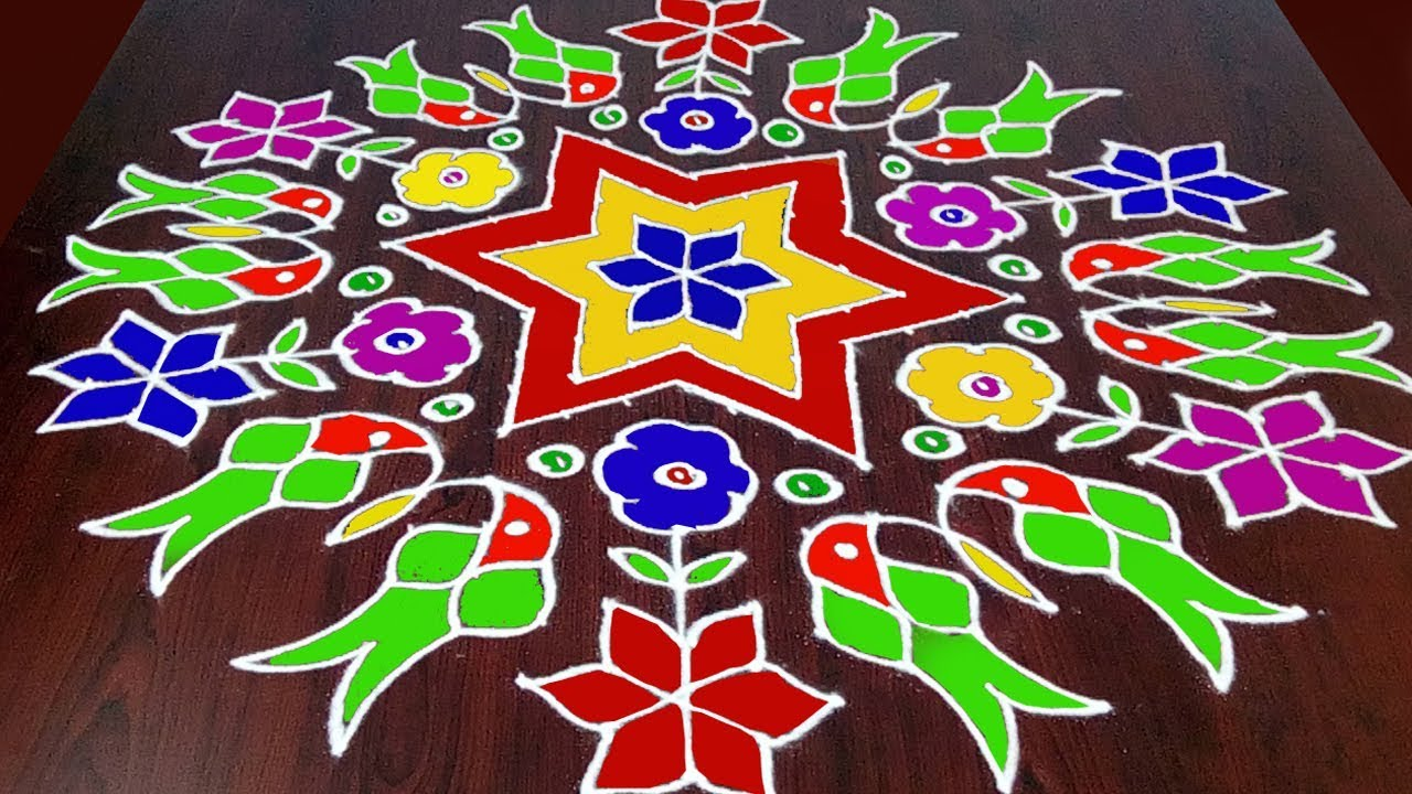 Parrot Rangoli With 21 x 11 Middle ||  Colourful Parrot Muggulu || Parrot  Kolam || Fashion World #1