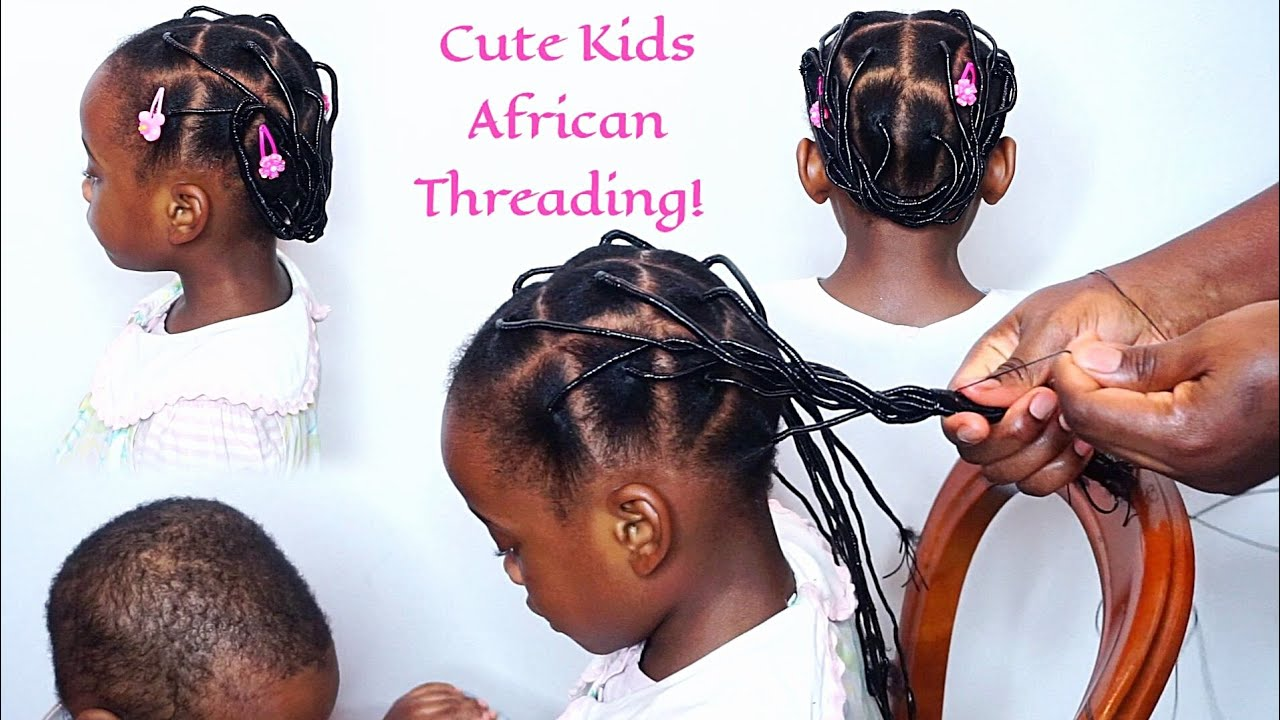 Back To School African Threading Protective Hairstyle Kids Protective Hairstyle Youtube