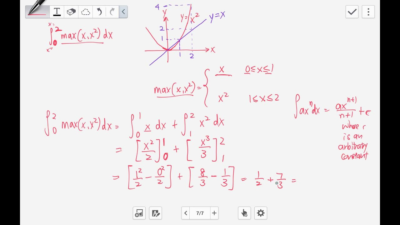 Integration by part & max(x,x^2)