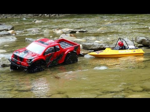 RC ADVENTURES - Ford Raptor 4x4 & Modified NQD Jet Boat on the Trail - Radio Control 1/10th Scale