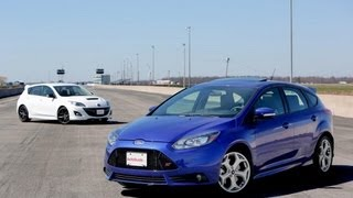 2013 Ford Focus ST vs 2013 MazdaSpeed3 Comparison(The Ultimate Hot Hatch Shootout http://www.autoguide.com/car-comparisons/2013-ford-focus-st-vs-2013-mazdaspeed3-2621.html Subscribe ..., 2013-05-14T15:14:12.000Z)