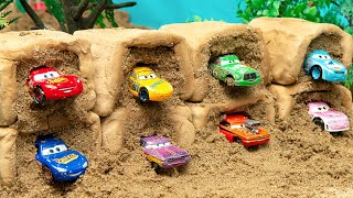 Find Disney McQueen's friends hidden in the sand in the cave