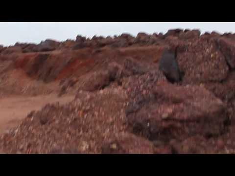 Oil shale waste boulder fields