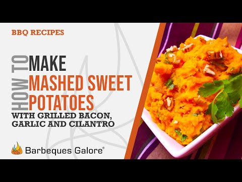 Mashed sweet potatoes with grilled bacon, garlic and cilantro