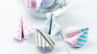 DIY Glückskekse aus Papier selber machen   Silvester, Geburtstag oder Party DIY